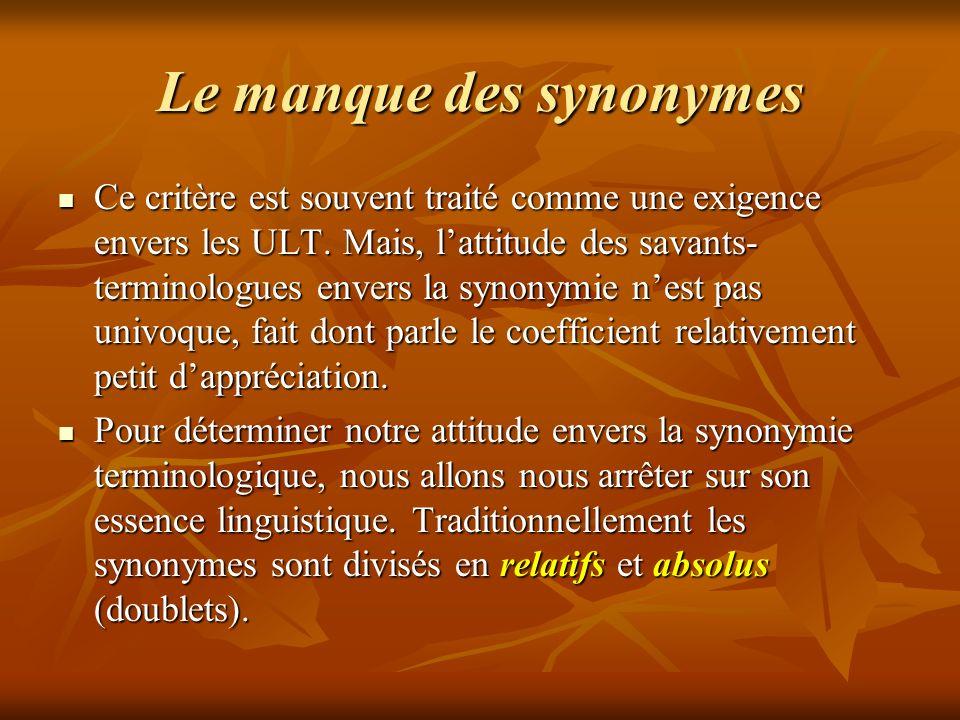Le manque des synonymes Ce critère est souvent traité comme une exigence envers les ULT.