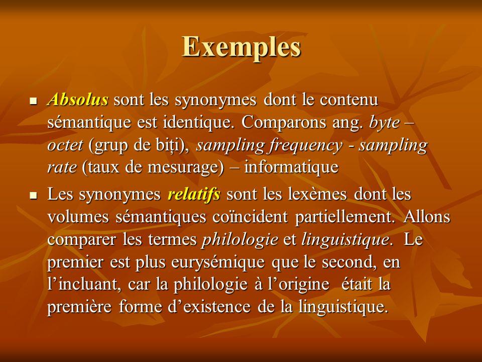 Exemples Absolus sont les synonymes dont le contenu sémantique est identique.