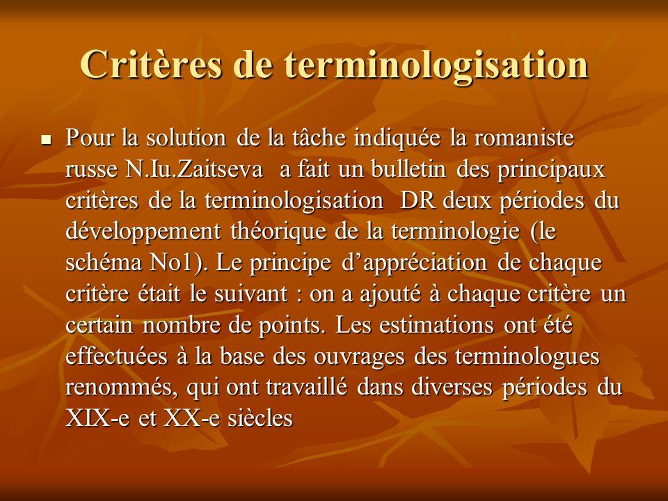 Critères de terminologisation Pour la solution de la tâche indiquée la romaniste russe N.Iu.Zaitseva a fait un bulletin des principaux critères de la terminologisation DR deux périodes du développement théorique de la terminologie (le schéma No1).