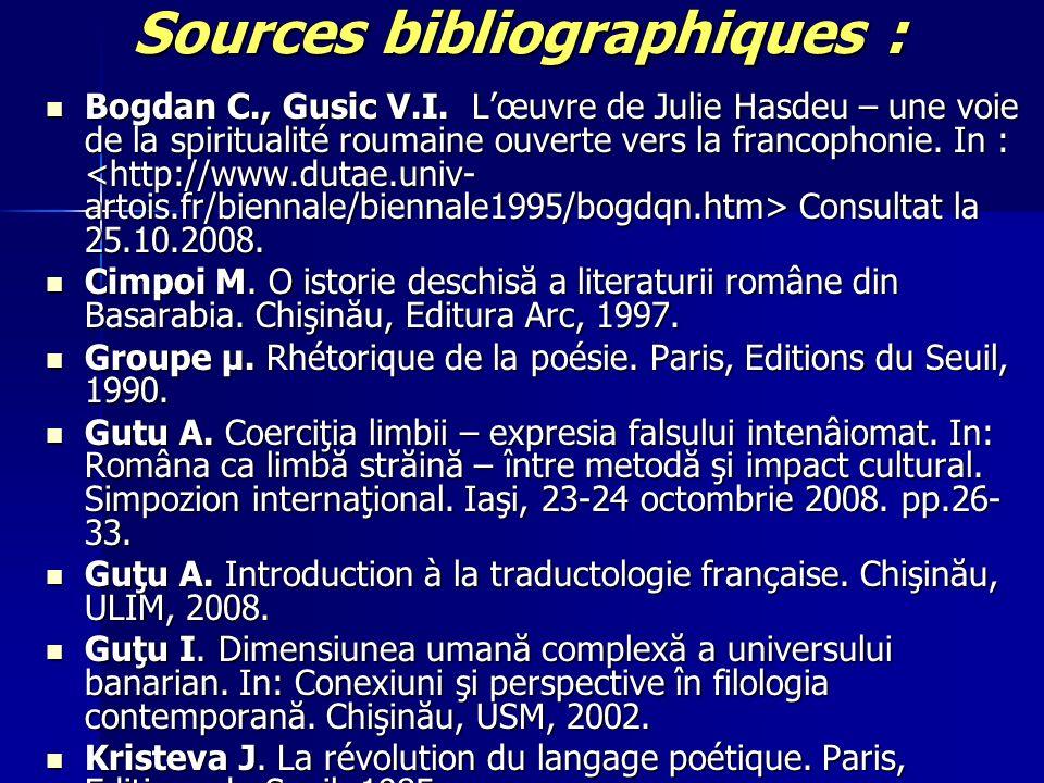 Sources bibliographiques : Bogdan C., Gusic V.I. Lœuvre de Julie Hasdeu – une voie de la spiritualité roumaine ouverte vers la francophonie. In : Cons