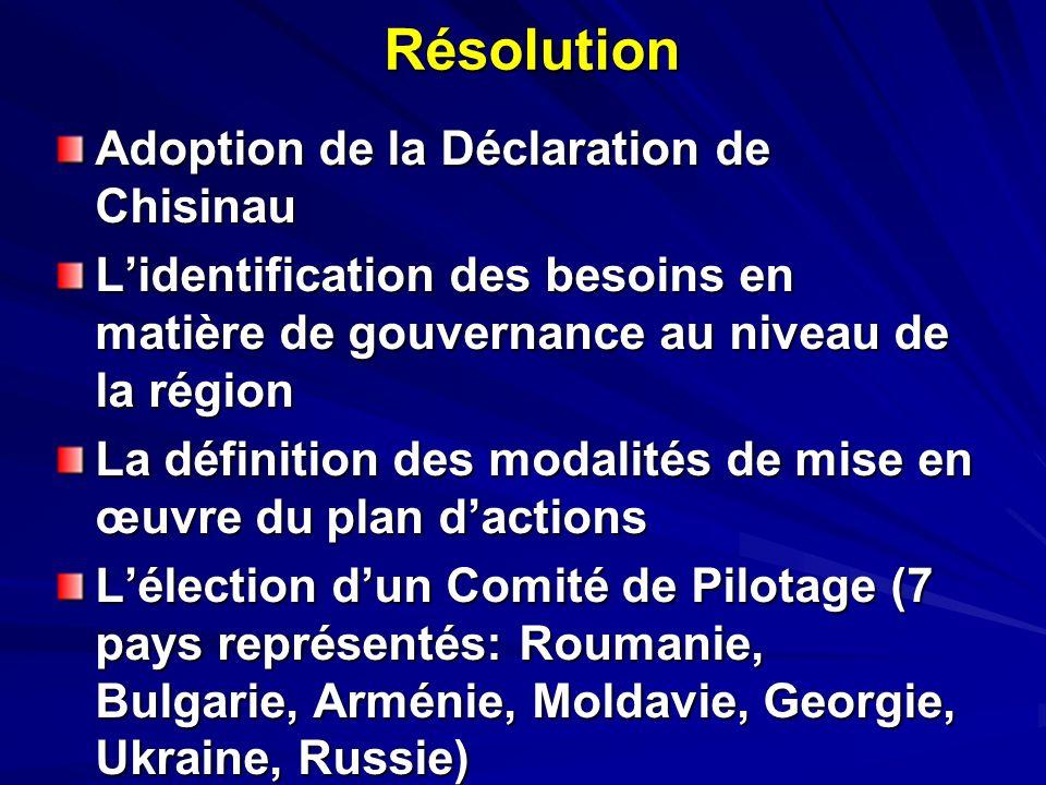 Résolution Adoption de la Déclaration de Chisinau Lidentification des besoins en matière de gouvernance au niveau de la région La définition des modalités de mise en œuvre du plan dactions Lélection dun Comité de Pilotage (7 pays représentés: Roumanie, Bulgarie, Arménie, Moldavie, Georgie, Ukraine, Russie)