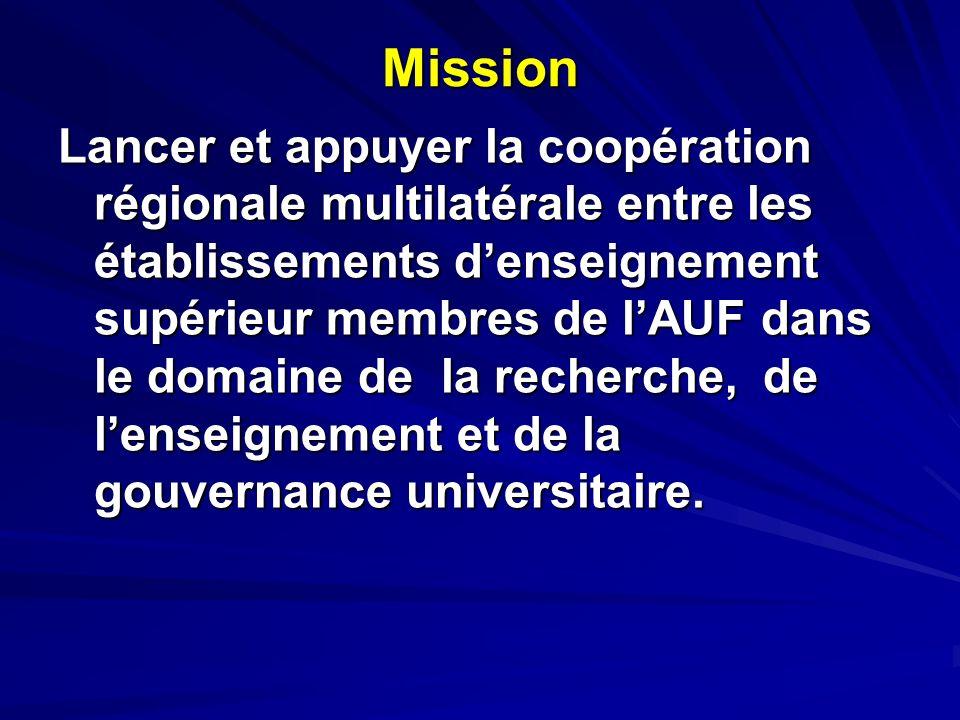 Mission Lancer et appuyer la coopération régionale multilatérale entre les établissements denseignement supérieur membres de lAUF dans le domaine de la recherche, de lenseignement et de la gouvernance universitaire.