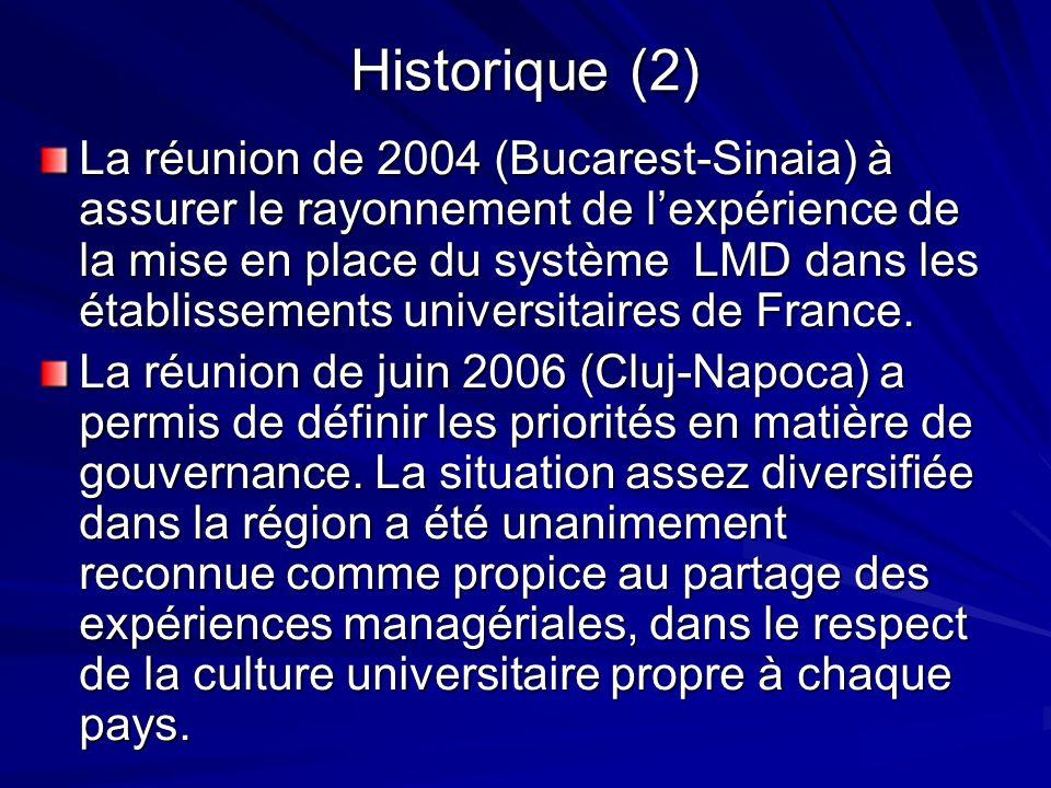 Historique (2) La réunion de 2004 (Bucarest-Sinaia) à assurer le rayonnement de lexpérience de la mise en place du système LMD dans les établissements universitaires de France.