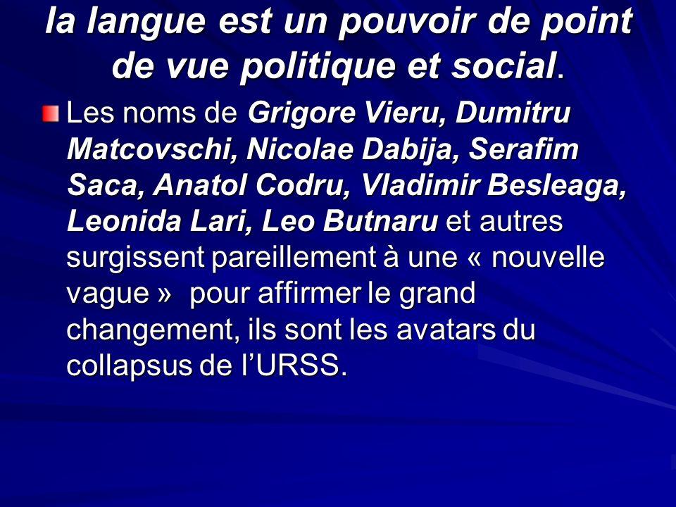 la langue est un pouvoir de point de vue politique et social. Les noms de Grigore Vieru, Dumitru Matcovschi, Nicolae Dabija, Serafim Saca, Anatol Codr