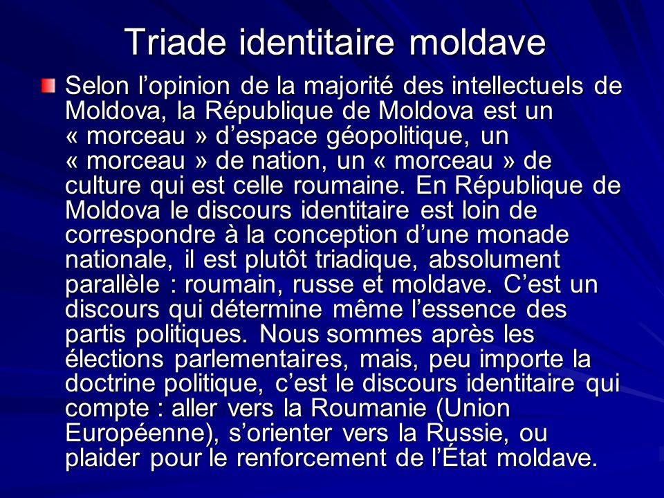 Triade identitaire moldave Selon lopinion de la majorité des intellectuels de Moldova, la République de Moldova est un « morceau » despace géopolitiqu