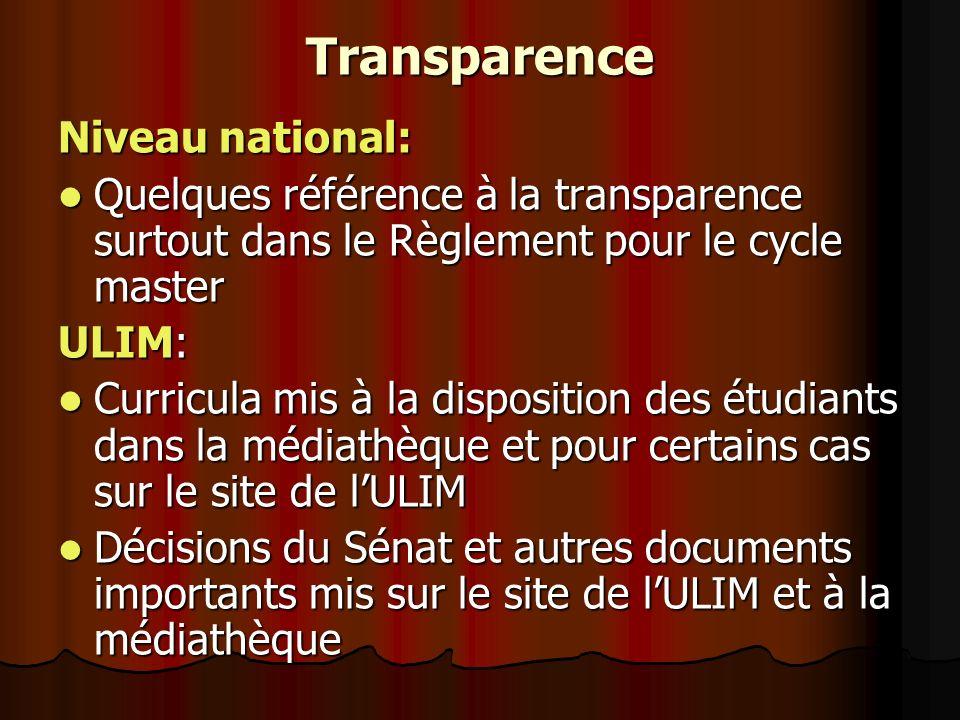 Transparence Niveau national: Quelques référence à la transparence surtout dans le Règlement pour le cycle master Quelques référence à la transparence