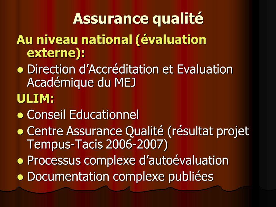 Assurance qualité Au niveau national (évaluation externe): Direction dAccréditation et Evaluation Académique du MEJ Direction dAccréditation et Evalua