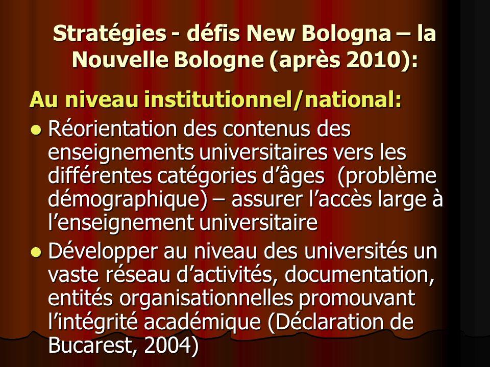 Stratégies - défis New Bologna – la Nouvelle Bologne (après 2010): Au niveau institutionnel/national: Réorientation des contenus des enseignements uni