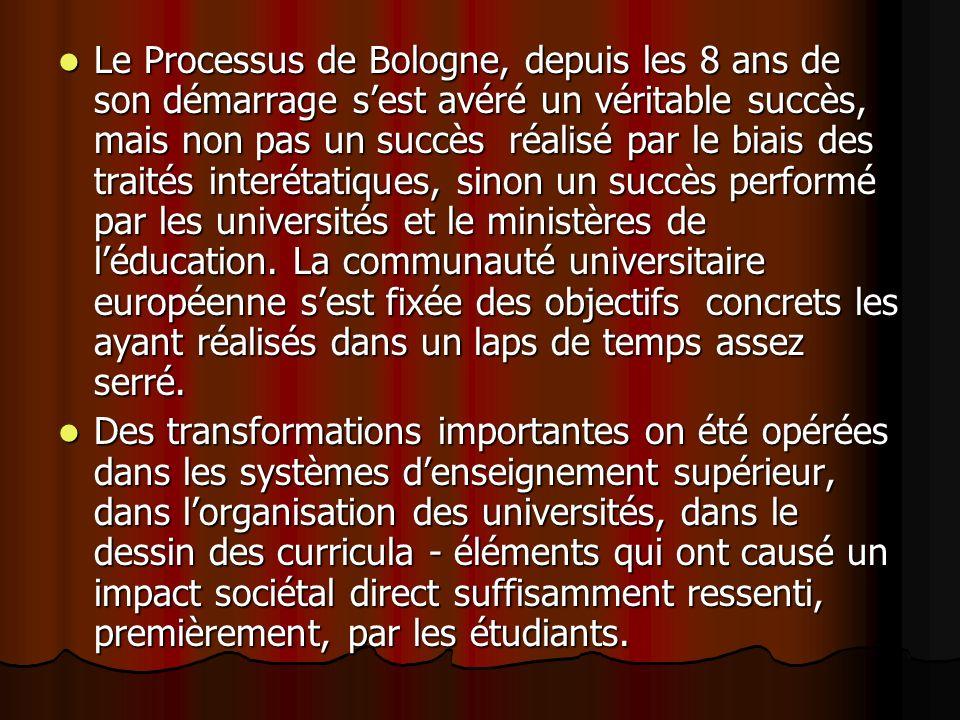 Le Processus de Bologne, depuis les 8 ans de son démarrage sest avéré un véritable succès, mais non pas un succès réalisé par le biais des traités interétatiques, sinon un succès performé par les universités et le ministères de léducation.