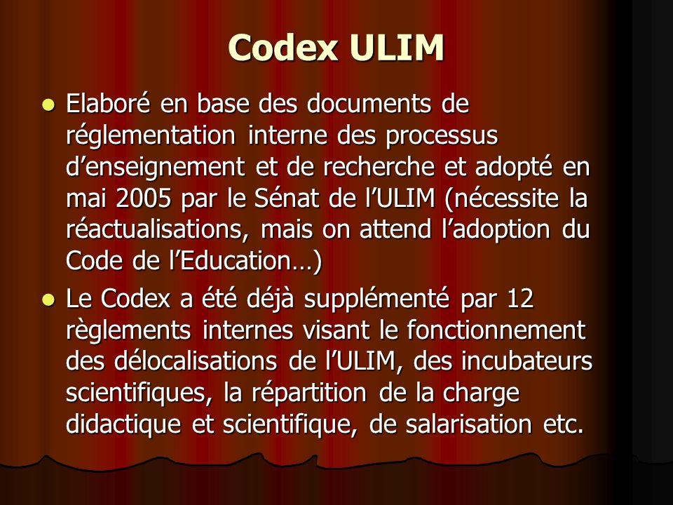 Codex ULIM Elaboré en base des documents de réglementation interne des processus denseignement et de recherche et adopté en mai 2005 par le Sénat de lULIM (nécessite la réactualisations, mais on attend ladoption du Code de lEducation…) Elaboré en base des documents de réglementation interne des processus denseignement et de recherche et adopté en mai 2005 par le Sénat de lULIM (nécessite la réactualisations, mais on attend ladoption du Code de lEducation…) Le Codex a été déjà supplémenté par 12 règlements internes visant le fonctionnement des délocalisations de lULIM, des incubateurs scientifiques, la répartition de la charge didactique et scientifique, de salarisation etc.
