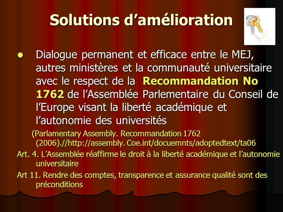 Solutions damélioration Dialogue permanent et efficace entre le MEJ, autres ministères et la communauté universitaire avec le respect de la Recommanda