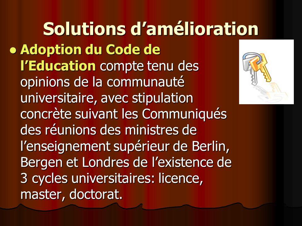 Solutions damélioration Adoption du Code de lEducation compte tenu des opinions de la communauté universitaire, avec stipulation concrète suivant les Communiqués des réunions des ministres de lenseignement supérieur de Berlin, Bergen et Londres de lexistence de 3 cycles universitaires: licence, master, doctorat.
