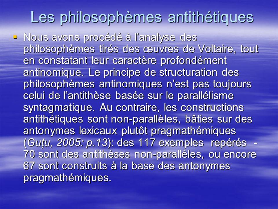 Les philosophèmes antithétiques Nous avons procédé à lanalyse des philosophèmes tirés des œuvres de Voltaire, tout en constatant leur caractère profon