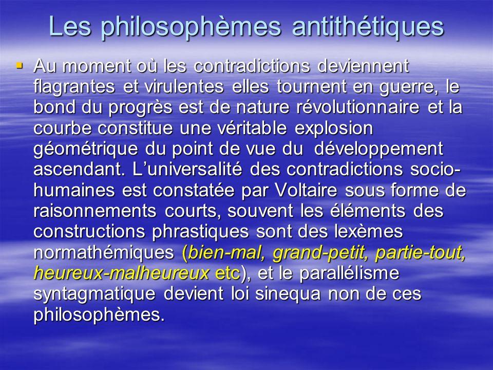 Les philosophèmes antithétiques Au moment où les contradictions deviennent flagrantes et virulentes elles tournent en guerre, le bond du progrès est d