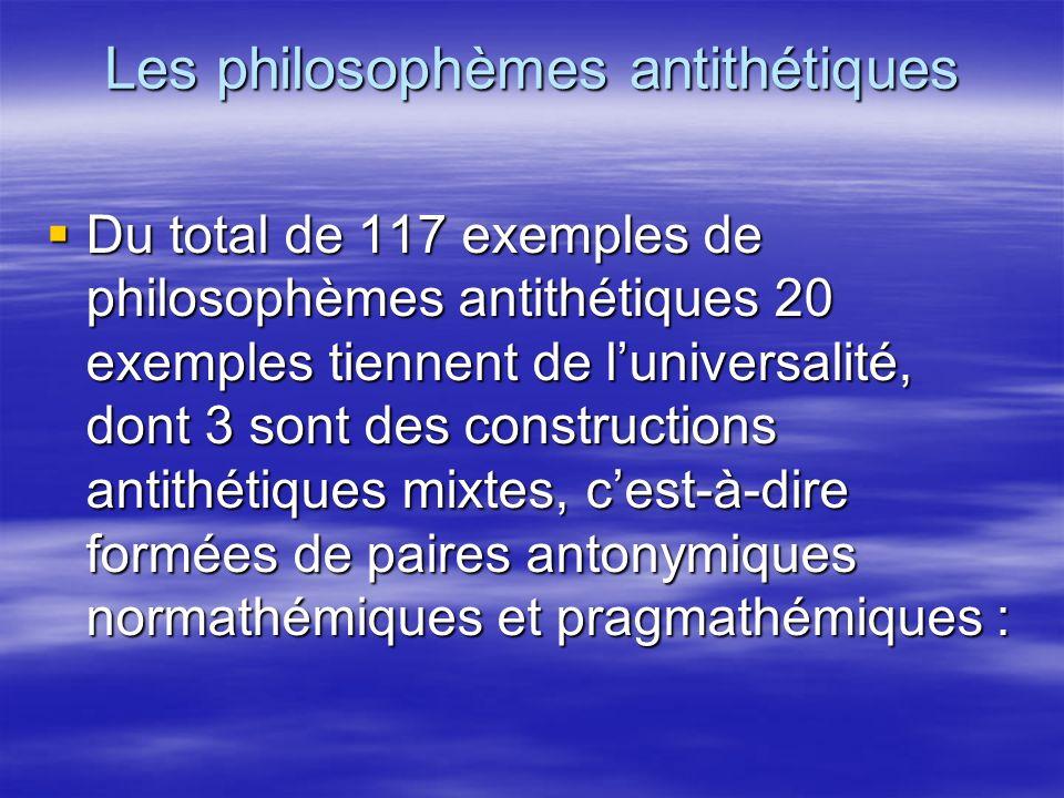 Les philosophèmes antithétiques Du total de 117 exemples de philosophèmes antithétiques 20 exemples tiennent de luniversalité, dont 3 sont des constru