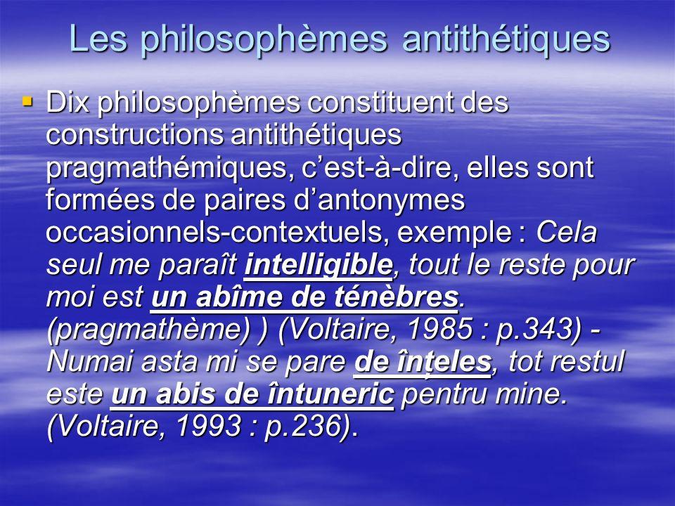 Les philosophèmes antithétiques Dix philosophèmes constituent des constructions antithétiques pragmathémiques, cest-à-dire, elles sont formées de pair