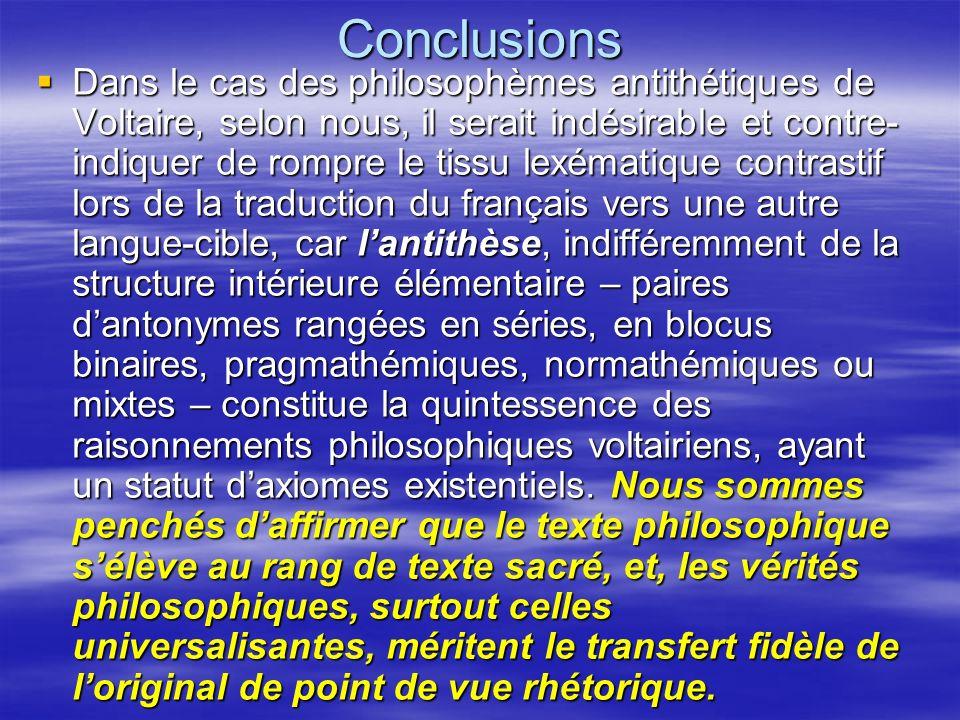 Conclusions Dans le cas des philosophèmes antithétiques de Voltaire, selon nous, il serait indésirable et contre- indiquer de rompre le tissu lexémati