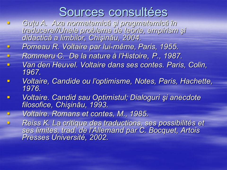 Sources consultées Guţu A. Axa normatemică şi pragmatemică în traducere//Unele probleme de teorie, empirism şi didactică a limbilor, Chişinău, 2004. G