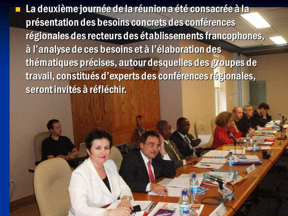 La deuxième journée de la réunion a été consacrée à la présentation des besoins concrets des conférences régionales des recteurs des établissements francophones, à lanalyse de ces besoins et à lélaboration des thématiques précises, autour desquelles des groupes de travail, constitués dexperts des conférences régionales, seront invités à réfléchir.