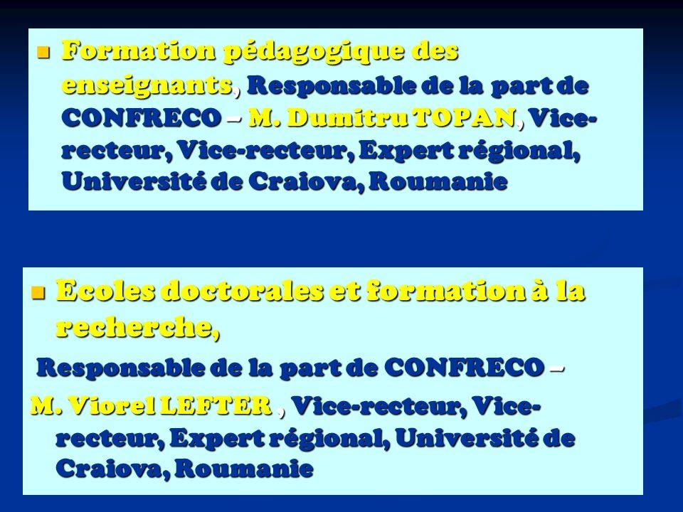 Formation pédagogique des enseignants, Responsable de la part de CONFRECO – M.