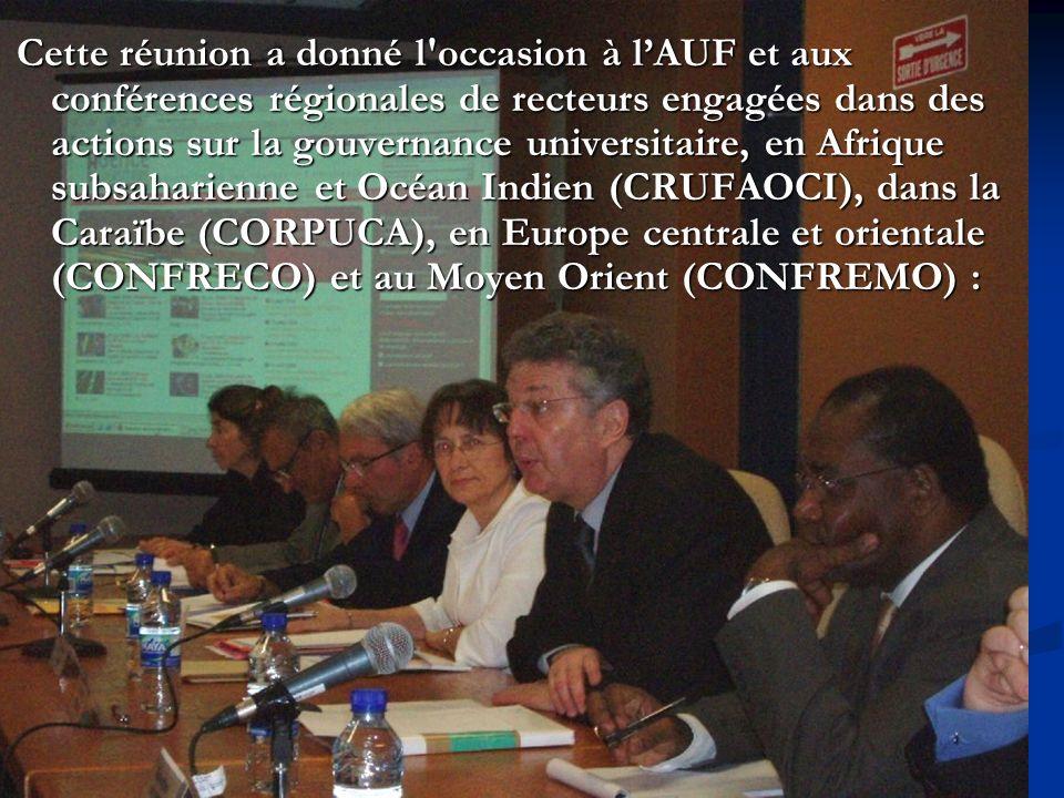 Cette réunion a donné l occasion à lAUF et aux conférences régionales de recteurs engagées dans des actions sur la gouvernance universitaire, en Afrique subsaharienne et Océan Indien (CRUFAOCI), dans la Caraïbe (CORPUCA), en Europe centrale et orientale (CONFRECO) et au Moyen Orient (CONFREMO) : Cette réunion a donné l occasion à lAUF et aux conférences régionales de recteurs engagées dans des actions sur la gouvernance universitaire, en Afrique subsaharienne et Océan Indien (CRUFAOCI), dans la Caraïbe (CORPUCA), en Europe centrale et orientale (CONFRECO) et au Moyen Orient (CONFREMO) :