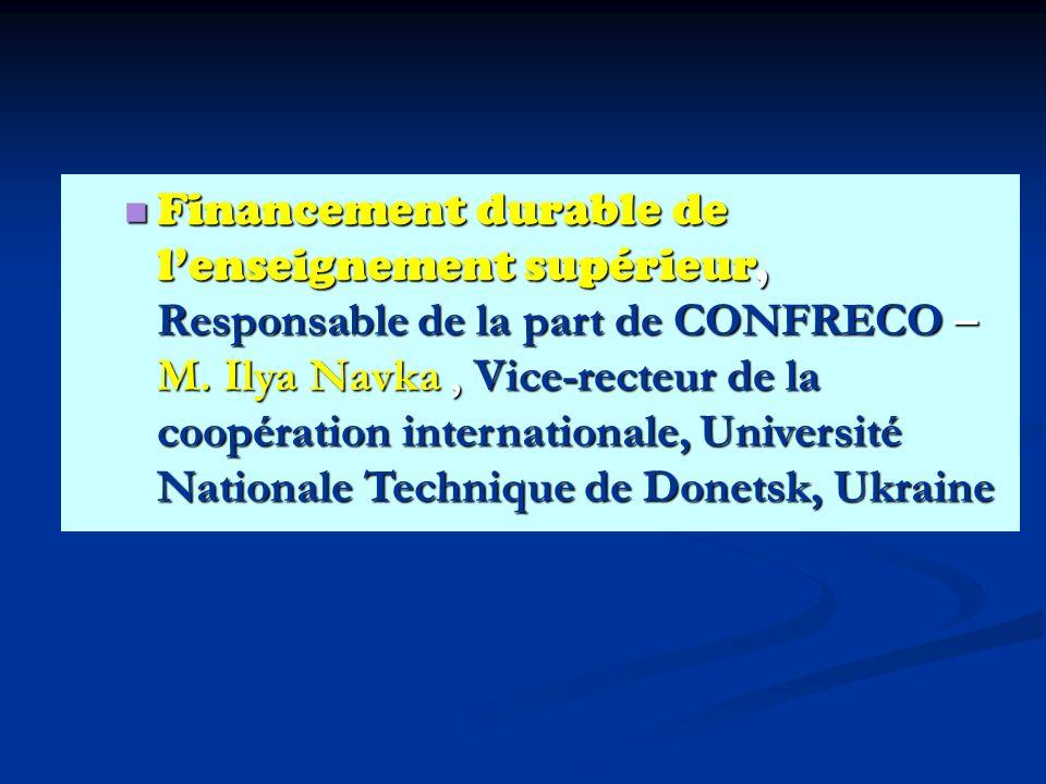 Financement durable de lenseignement supérieur, Responsable de la part de CONFRECO – M.