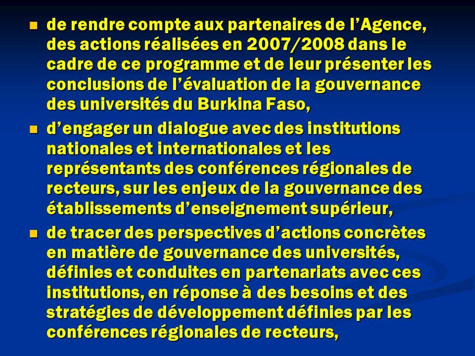 de rendre compte aux partenaires de lAgence, des actions réalisées en 2007/2008 dans le cadre de ce programme et de leur présenter les conclusions de lévaluation de la gouvernance des universités du Burkina Faso, de rendre compte aux partenaires de lAgence, des actions réalisées en 2007/2008 dans le cadre de ce programme et de leur présenter les conclusions de lévaluation de la gouvernance des universités du Burkina Faso, dengager un dialogue avec des institutions nationales et internationales et les représentants des conférences régionales de recteurs, sur les enjeux de la gouvernance des établissements denseignement supérieur, dengager un dialogue avec des institutions nationales et internationales et les représentants des conférences régionales de recteurs, sur les enjeux de la gouvernance des établissements denseignement supérieur, de tracer des perspectives dactions concrètes en matière de gouvernance des universités, définies et conduites en partenariats avec ces institutions, en réponse à des besoins et des stratégies de développement définies par les conférences régionales de recteurs, de tracer des perspectives dactions concrètes en matière de gouvernance des universités, définies et conduites en partenariats avec ces institutions, en réponse à des besoins et des stratégies de développement définies par les conférences régionales de recteurs,