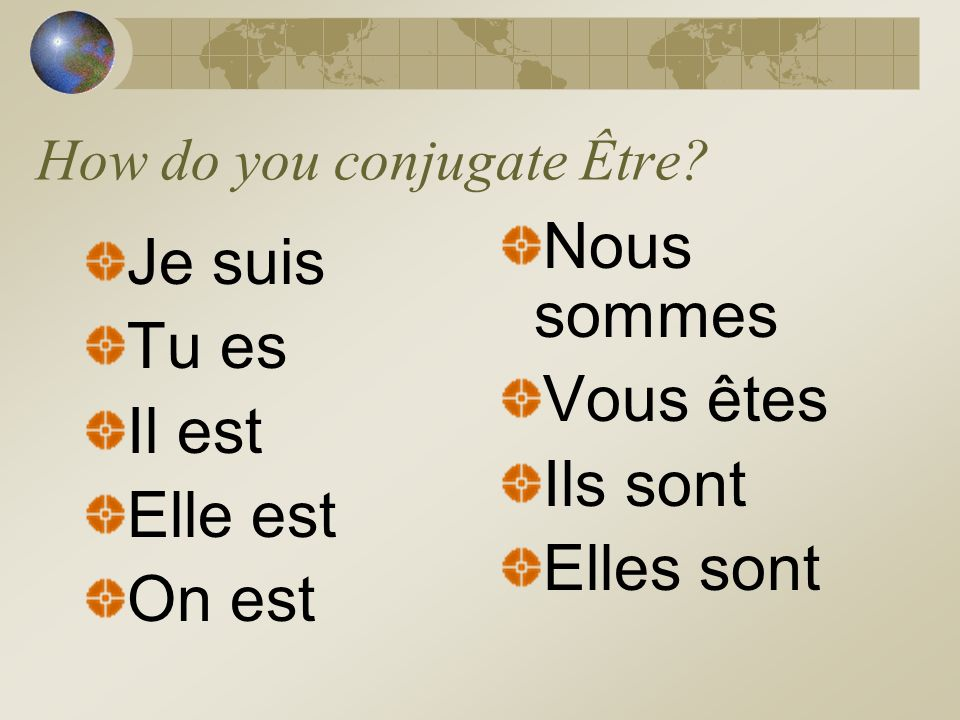 What does Être mean? To be