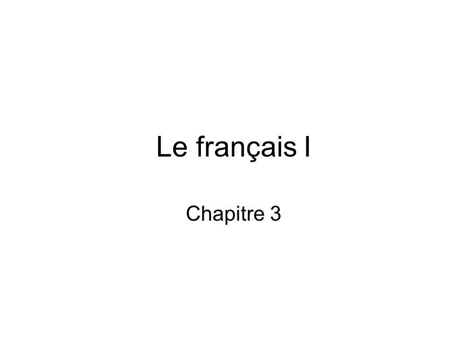 Le français I Chapitre 3