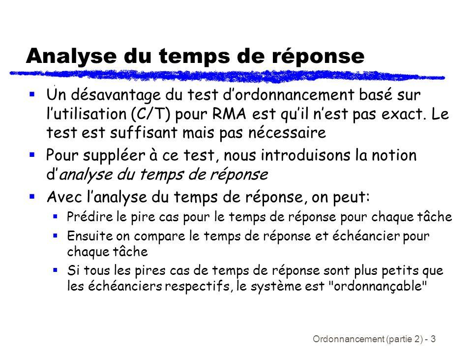 Ordonnancement (partie 2) - 3 Analyse du temps de réponse Un désavantage du test dordonnancement basé sur lutilisation (C/T) pour RMA est quil nest pa