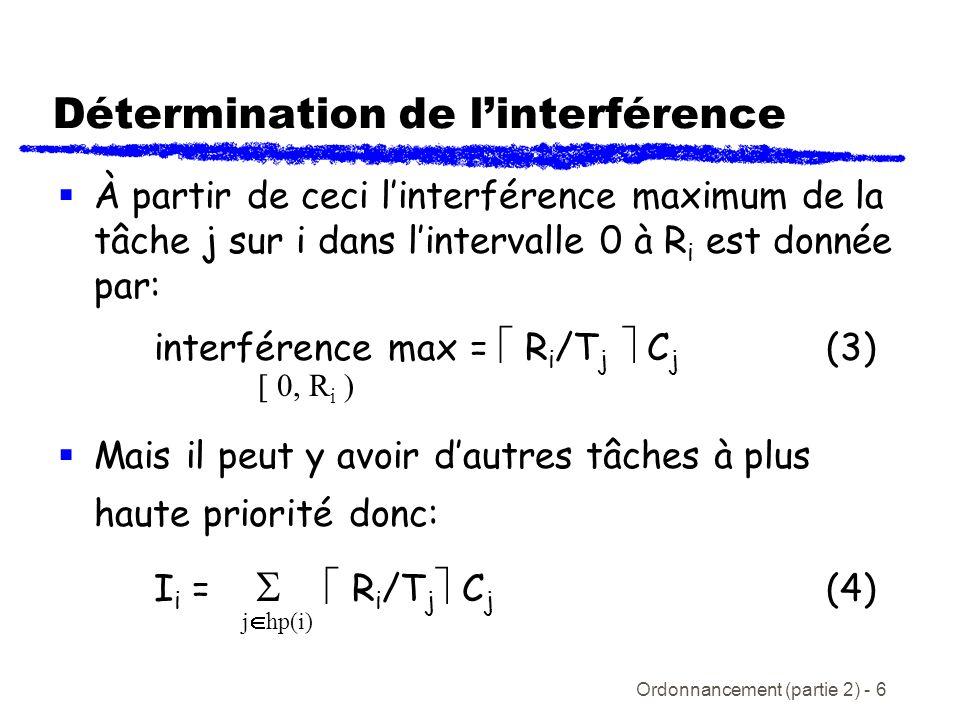 Ordonnancement (partie 2) - 7 Calcul du temps de réponse Substituant léquation (4) dans (1) donne lexpression générale pour le temps de réponse: R i = C i + R i /T j C j (5) Notez le problème suivant: R i est sur les deux côtés de léquation!!.