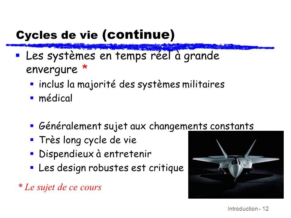 Introduction - 12 Cycles de vie (continue) Les systèmes en temps réel à grande envergure * inclus la majorité des systèmes militaires médical Générale