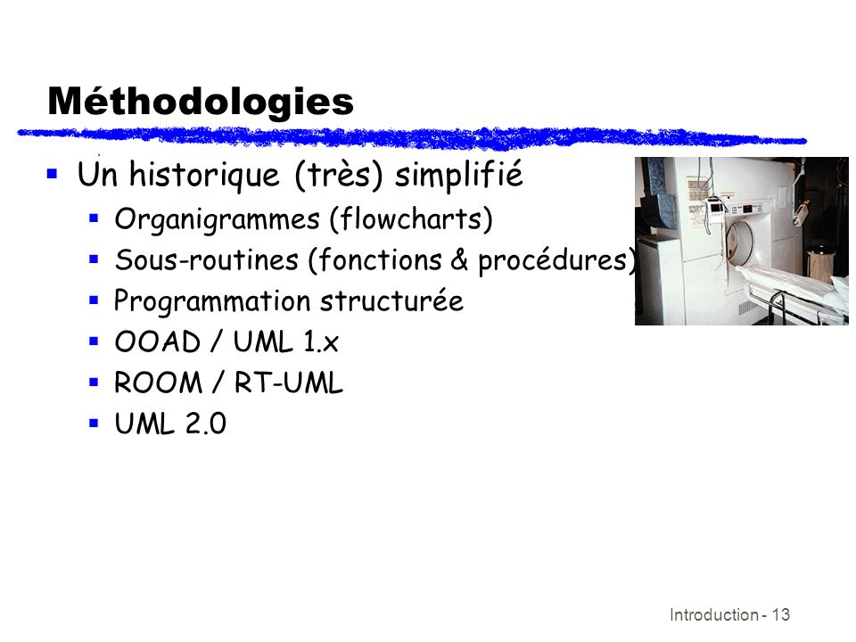 Introduction - 13 Méthodologies Un historique (très) simplifié Organigrammes (flowcharts) Sous-routines (fonctions & procédures) Programmation structu