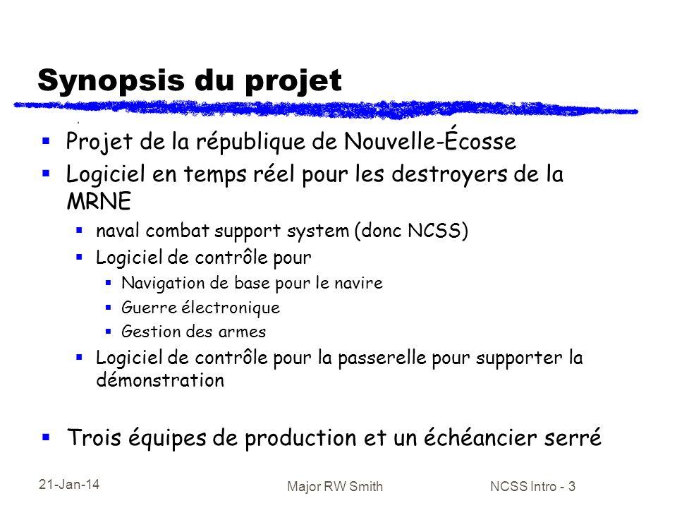 21-Jan-14 Major RW Smith NCSS Intro - 3 Synopsis du projet Projet de la république de Nouvelle-Écosse Logiciel en temps réel pour les destroyers de la