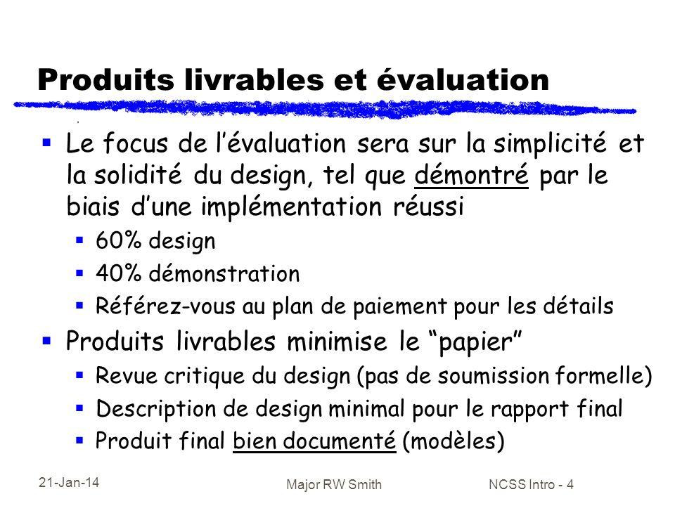 21-Jan-14 Major RW Smith NCSS Intro - 4 Produits livrables et évaluation Le focus de lévaluation sera sur la simplicité et la solidité du design, tel