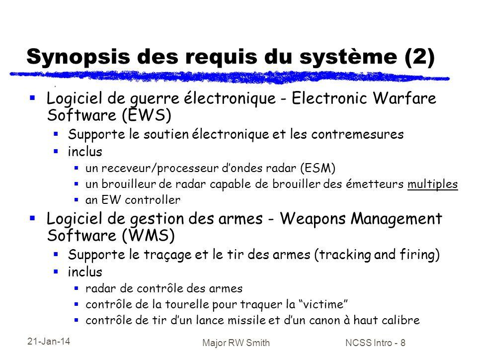 21-Jan-14 Major RW Smith NCSS Intro - 8 Synopsis des requis du système (2) Logiciel de guerre électronique - Electronic Warfare Software (EWS) Support