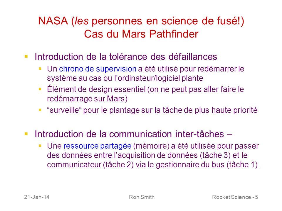 21-Jan-14 Ron SmithRocket Science - 6 NASA (les personnes en science de fusé!) Cas du Mars Pathfinder La mission du Mars Pathfinder a été grandement vendu comme parfaite durant les premiers jours après son arrivé sur la surface martienne le 4 juillet 1997.