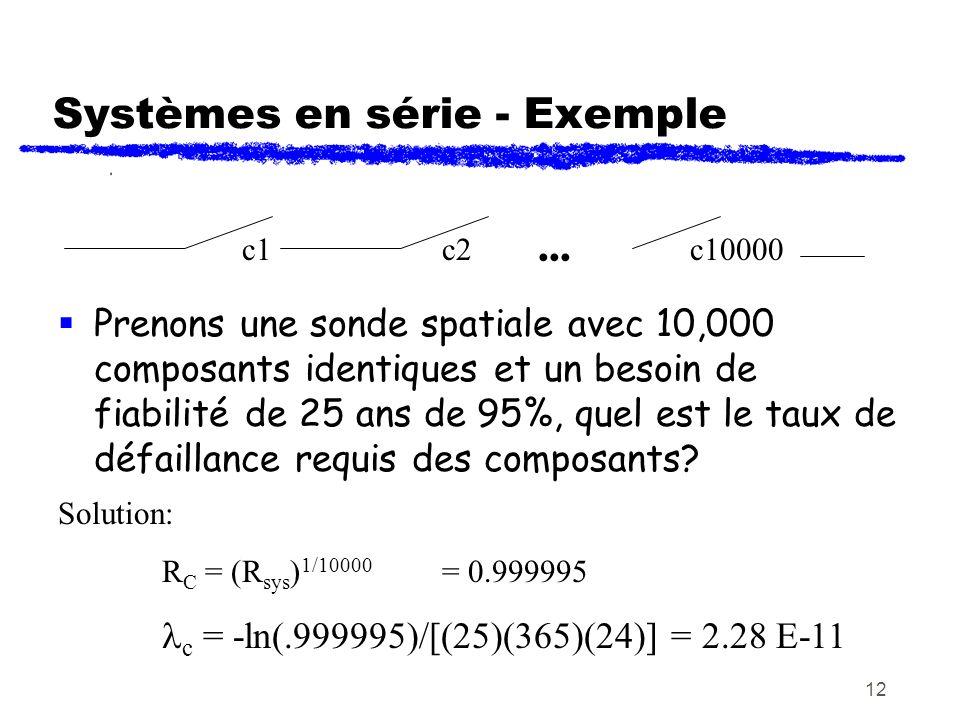 12 Systèmes en série - Exemple Prenons une sonde spatiale avec 10,000 composants identiques et un besoin de fiabilité de 25 ans de 95%, quel est le ta
