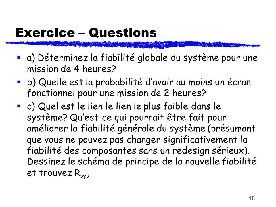 18 Exercice – Questions a) Déterminez la fiabilité globale du système pour une mission de 4 heures? b) Quelle est la probabilité davoir au moins un éc