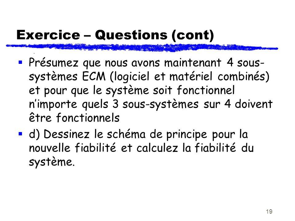 19 Exercice – Questions (cont) Présumez que nous avons maintenant 4 sous- systèmes ECM (logiciel et matériel combinés) et pour que le système soit fon