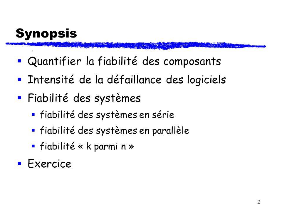2 Synopsis Quantifier la fiabilité des composants Intensité de la défaillance des logiciels Fiabilité des systèmes fiabilité des systèmes en série fia
