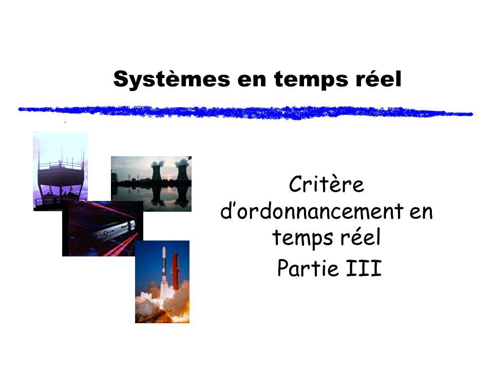 Systèmes en temps réel Critère dordonnancement en temps réel Partie III