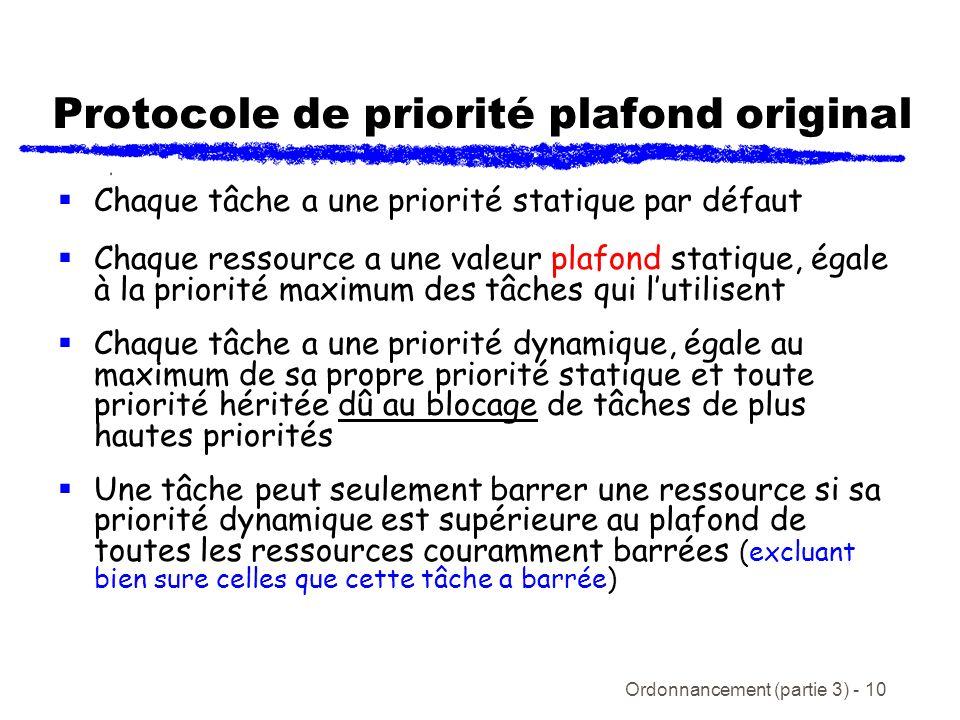 Ordonnancement (partie 3) - 10 Protocole de priorité plafond original Chaque tâche a une priorité statique par défaut Chaque ressource a une valeur pl