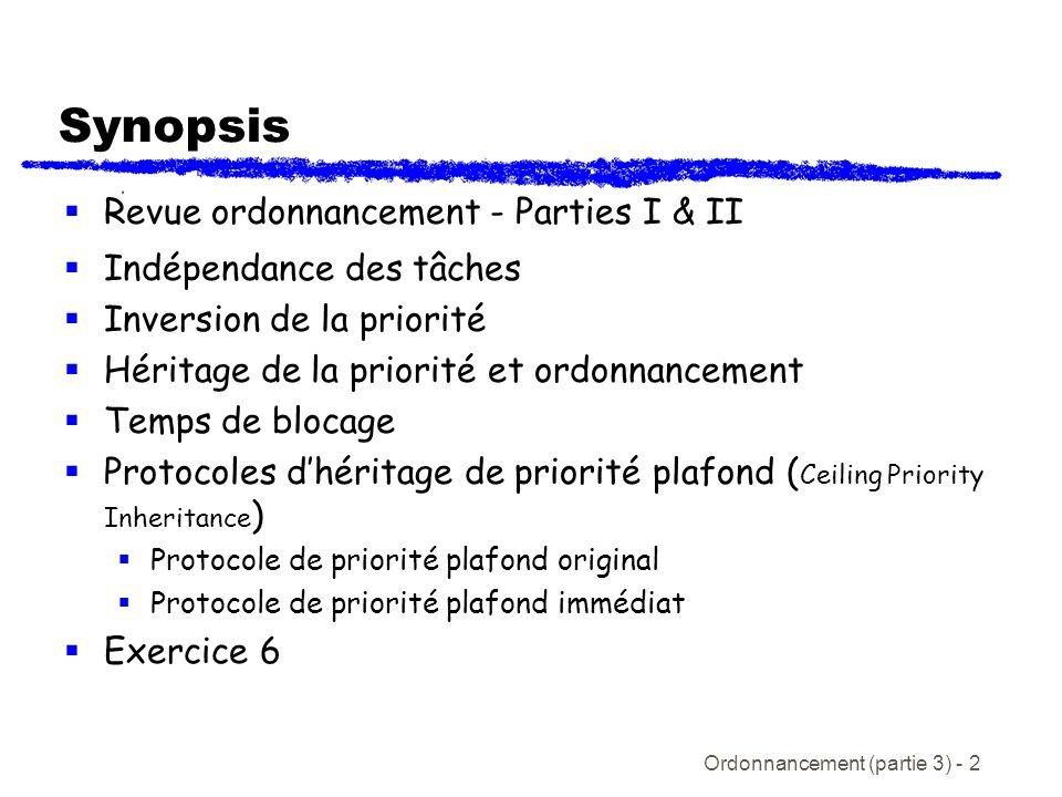 Ordonnancement (partie 3) - 2 Synopsis Revue ordonnancement - Parties I & II Indépendance des tâches Inversion de la priorité Héritage de la priorité