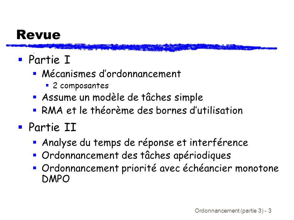 Ordonnancement (partie 3) - 3 Revue Partie I Mécanismes dordonnancement 2 composantes Assume un modèle de tâches simple RMA et le théorème des bornes