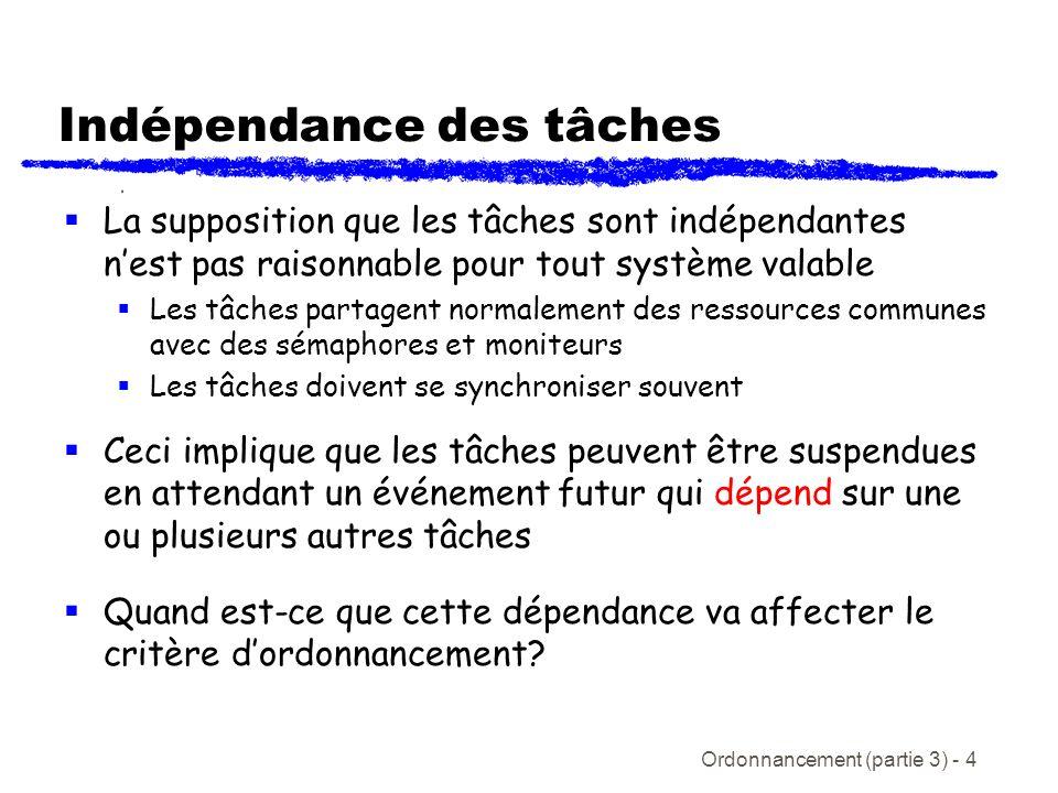 Ordonnancement (partie 3) - 4 Indépendance des tâches La supposition que les tâches sont indépendantes nest pas raisonnable pour tout système valable