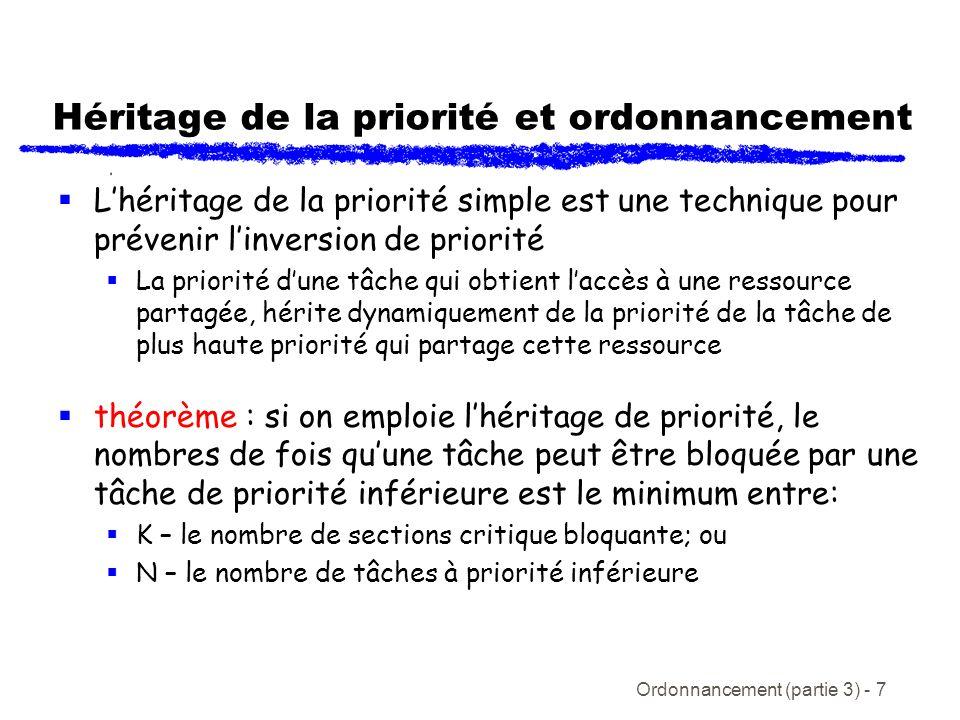 Ordonnancement (partie 3) - 8 Temps de blocage À partir du théorème, le temps de blocage de la tâche i est définit comme étant -> B i = utilisation(k, i ) CS(k)(1) où utilisation(k, i) = 1 si la ressource k est utilisée par au moins une tâche de priorité < i et au moins une tâche (incluant i ) de priorité i = 0 autrement et CS(k) = coût dexécution de la section critique k k=1 K