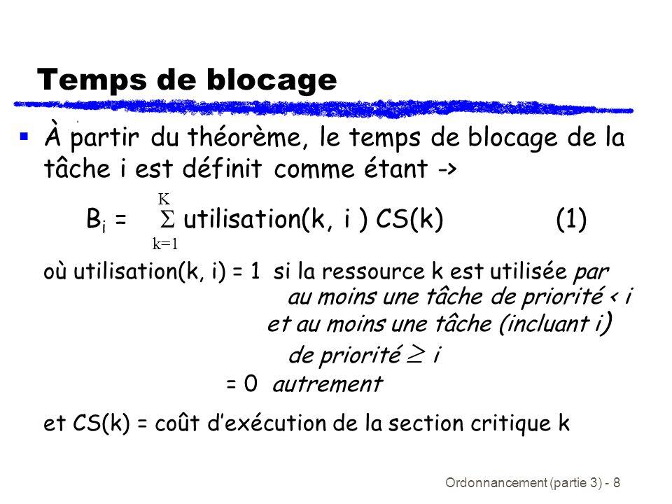 Ordonnancement (partie 3) - 9 Temps de blocage De léquation (1) nous obtenons un temps de réponse plus général pour la tâche i: R i = C i + B i + I i (2) ouR i n = C i + B i + R i n-1 /T j C j pour n > 1 Nous avons encore le cas spécial R i 0 = C i Malgré que lemploie de lhéritage de priorité simple va limiter le nombre de blocages quune tâche peut souffrir, cela ne prévient pas le blocage transitif ou les interblocages j hp(i)
