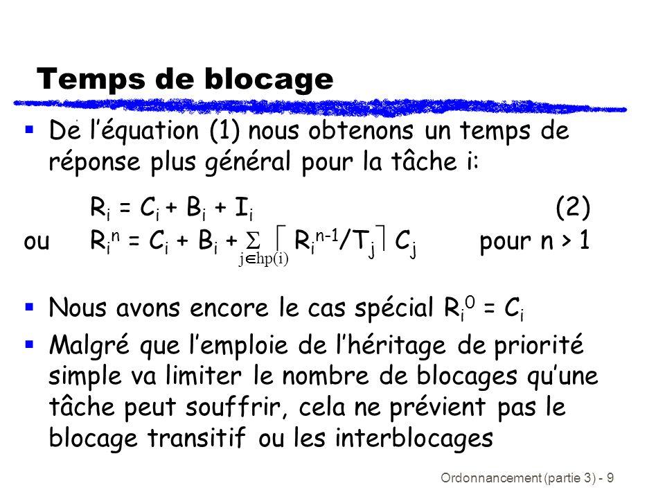 Ordonnancement (partie 3) - 9 Temps de blocage De léquation (1) nous obtenons un temps de réponse plus général pour la tâche i: R i = C i + B i + I i