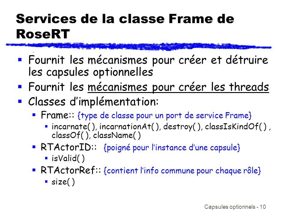 Capsules optionnels - 10 Services de la classe Frame de RoseRT Fournit les mécanismes pour créer et détruire les capsules optionnelles Fournit les méc